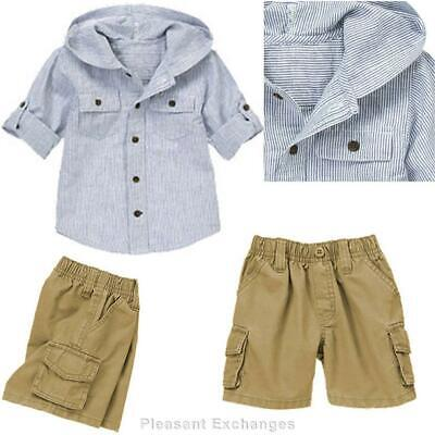 NWT Gymboree 12 18 mos BEACH BUDDIES Baby Boys 2pc Hoodie Shirt & Cargo Shorts Gymboree Does Not Apply