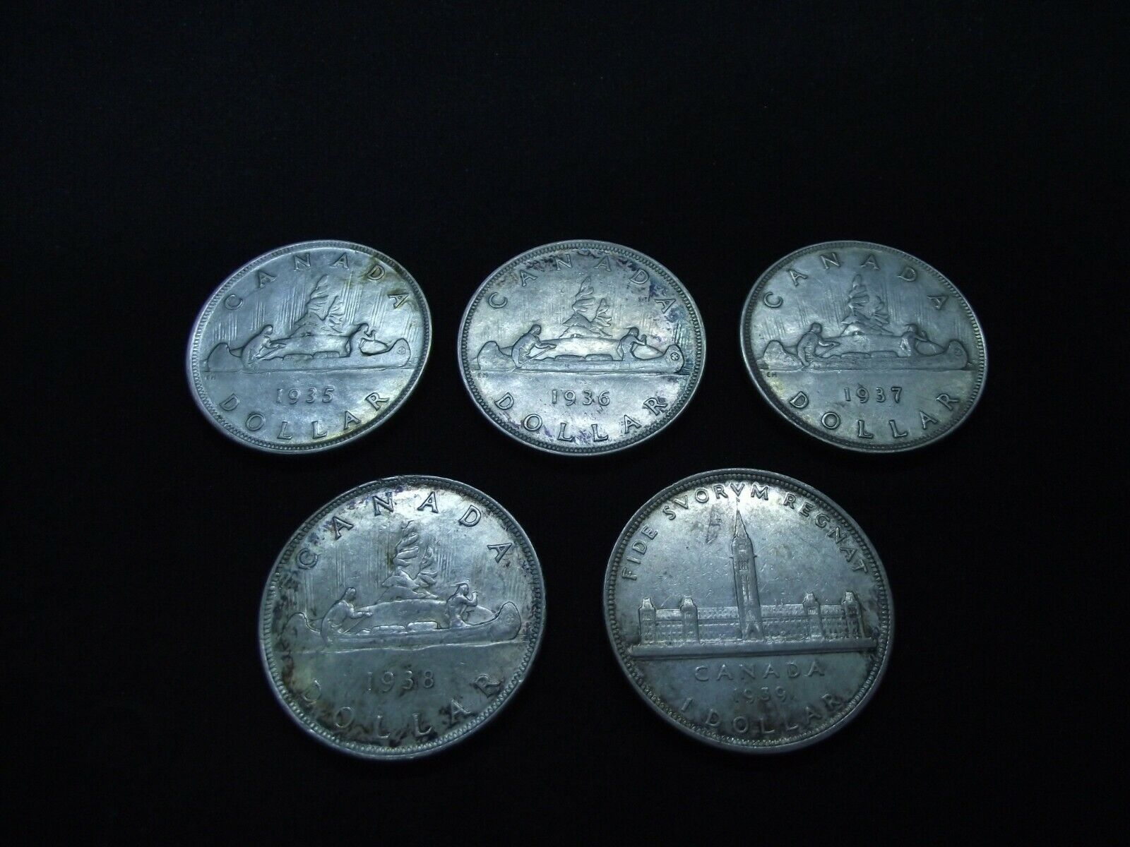 5 Canadian Silver Dollars 1935-36-37-38 & 1939 Без бренда