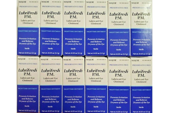 Major Lubrifresh PM Lubricant Eye Ointment, 3.5gm -12pk -Expiration Date 05-2022