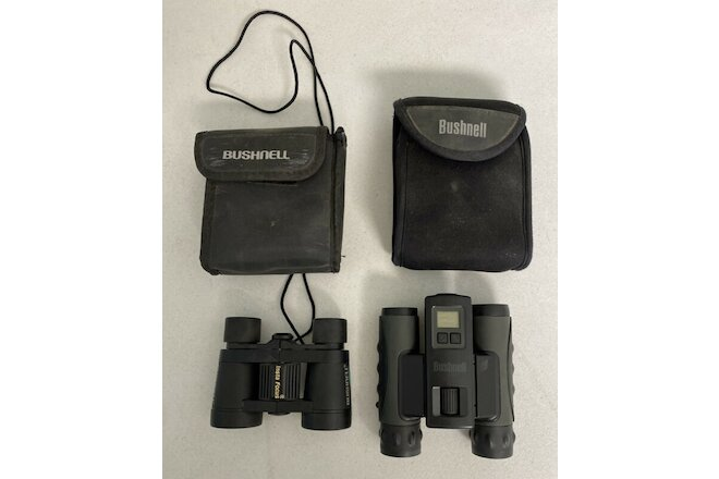 Lot of 2 Bushnell Binoculars Small Compact with Case's