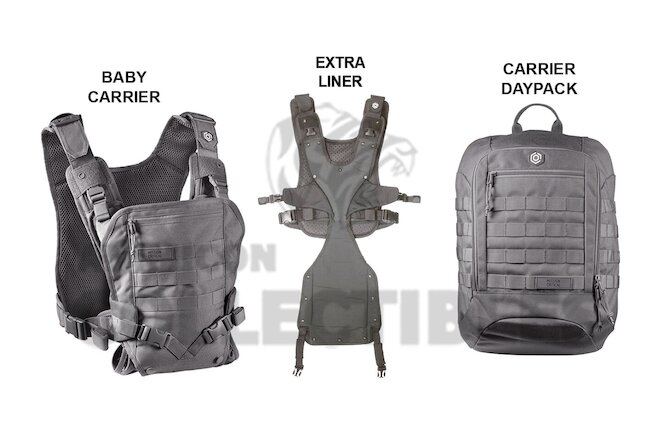 Mission Critical FRONT BABY CARRIER & DAYPACK CARRIER + EXT. LINER GRAY Grey New