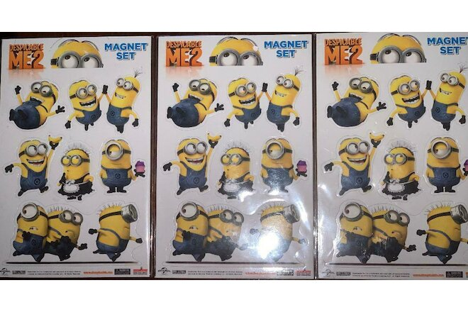 Despicable Me 2 Kids Movie 6 PC Minions Magnet Set-1Lot of 3