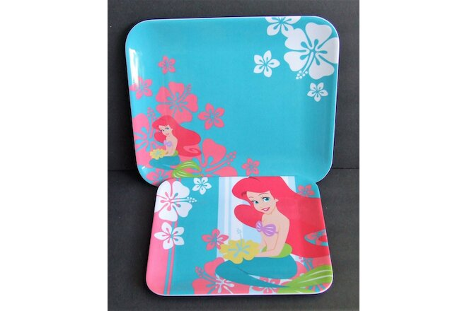 "Set of 2 Disney Store Exclusive Ariel Rectangular Melamine 9"" & 11"" Plates NEW"