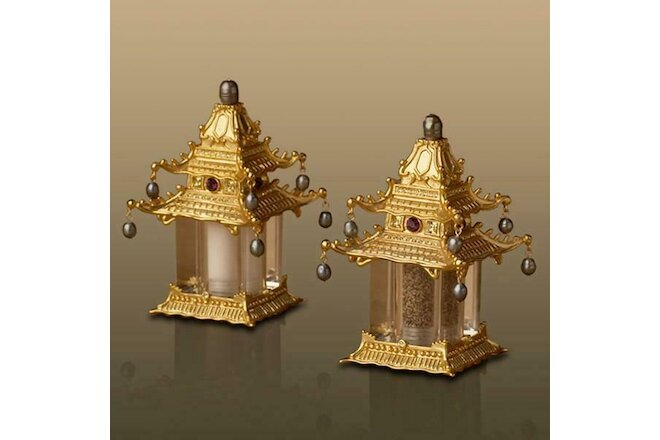 L'OBJET PAGODA SPICE JEWELS Chinoiserie Salt & Pepper Shakers Set NIB *$250 MSR*