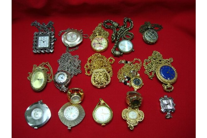 15 PC LOT HANGING WATCHES SOME DIGITAL / SOME WINDERS + 2 FREE RING WATCHES