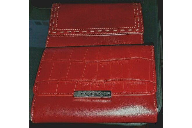 (2) Fossil Red Genuine Leather  TRi-Fold Wallets