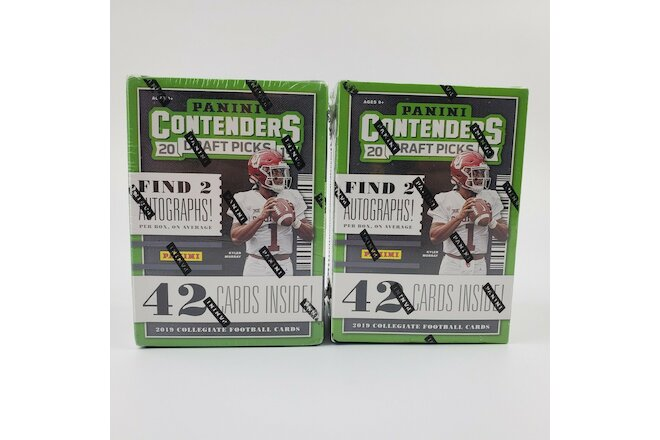 Lot of (2) 2019 Panini Contenders Draft Picks Football Blaster Box - Autographs