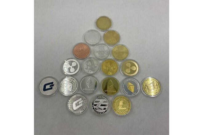 19 types Gold/silver color Bitcoin coin Metal Physical Commemorative Coin gift