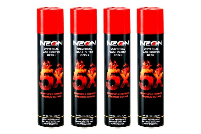 24 CANS NEON 5X Butane Gas 300mL 5 X Super Filtered Lighter Refill Power Fuel