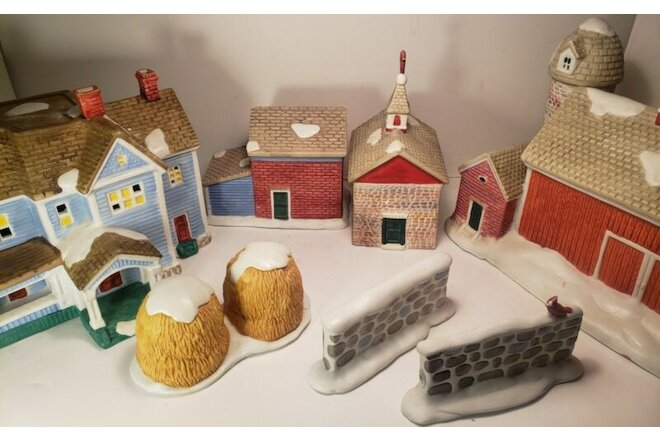 Vintage Country Memories Porcelain Christmas Village  1993