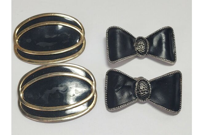 2 Sets of Plastic Shoe Clips Round with Gold Accents, Bow Shaped Molded Vintage