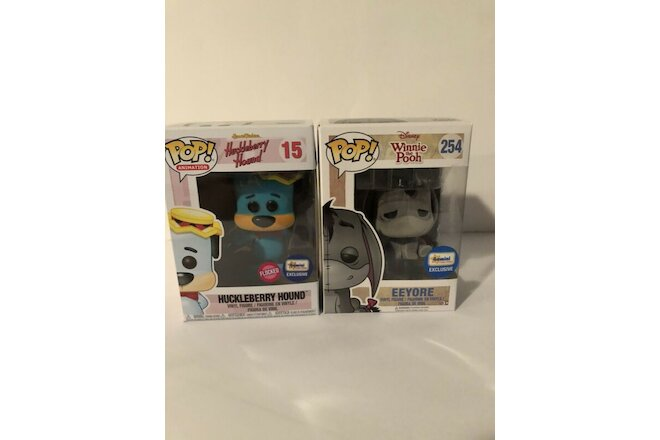 Funko Pop! Flocked Eyeore & Huckleberry Hound Exclusive Figure Lot -