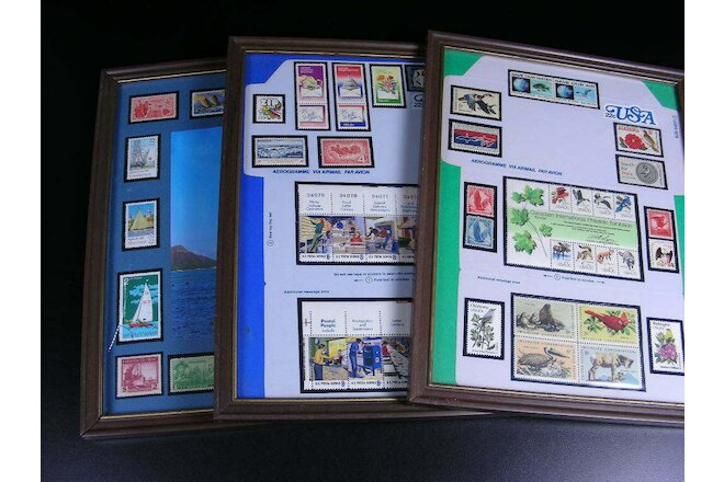 Lot -Three Vintage Framed Postage Stamp Groupings- Ships, post office & wildlife