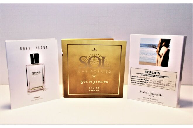 Bobbi Brown BEACH, Maison Margiela Replica Beach Walk, Sol Cheirosa '62 Samples