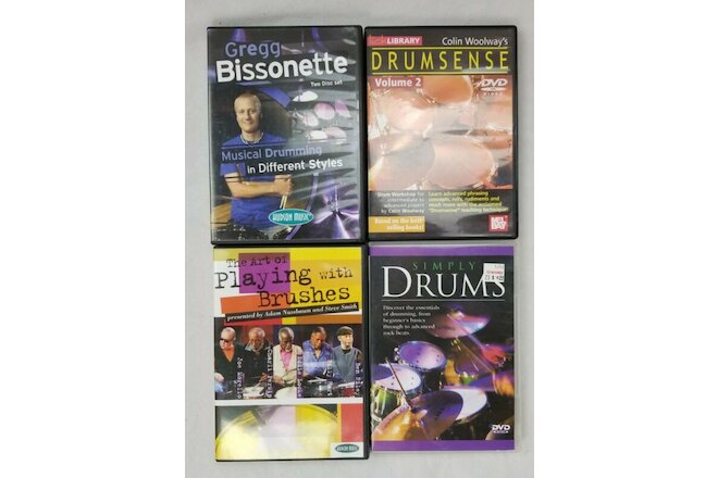 Instructional Drum DVDs, Lot of 4, Simply Drums, Drumsense, Musical Drumming +