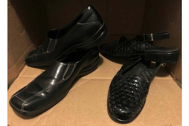 New Lot 2 pr TROTTERS Black Leather Courtney Flats & Slingbacks Shoes Size 7.5