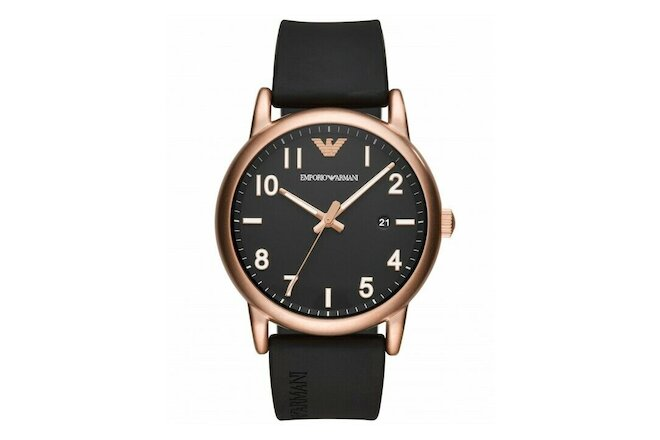 Emporio Armani Black Rubber Band Black Dial Men's Watch AR11097