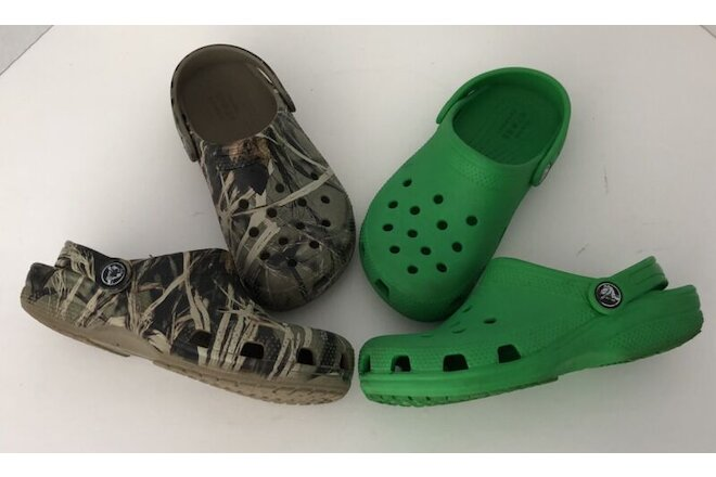 Lot of 2 Pairs Kids Authentic Crocs tree Camo and Green Clogs Shoes Size C 13