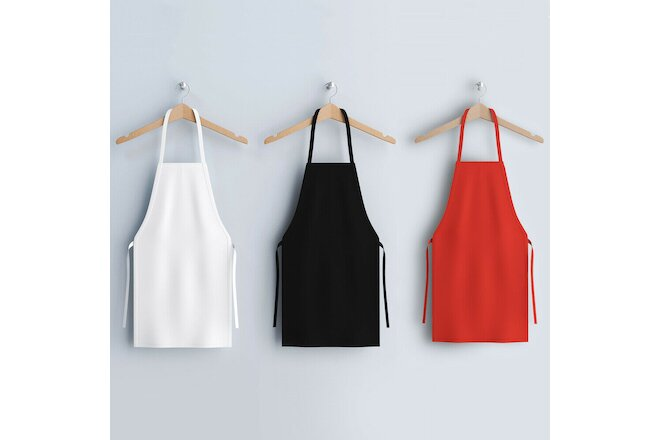 12 Pack of Kitchen Aprons - Full Bib Size Polyester Apron - Black Red or White