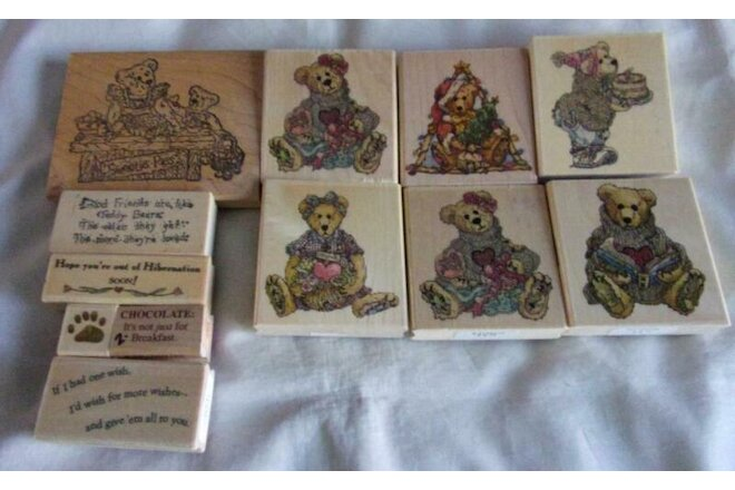 HUGE set of 12 Boyd's Bear rubber stamps
