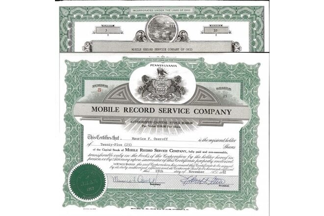Mobile Record Service Company of Ohio > old stock certificate share