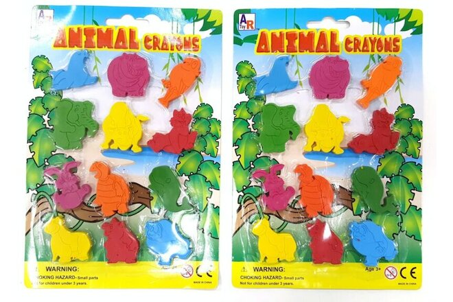 Lot of 2 SETS ANIMAL SHAPED CRAYONS 12 Crayons Per Set NEW FUN TO COLOR WITH