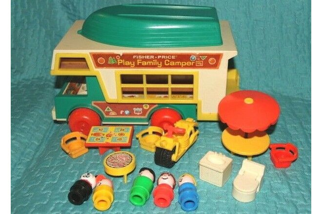 Vintage Fisher Price Little People Truck Camper Almost Complete Boat Motorcycle