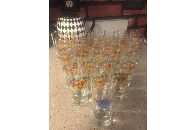 "Hard Rock Cafe Lot of 26 Shot Glasses 4"" Various Cities 1999 and Prior"
