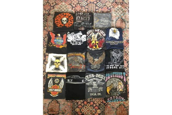 lot 15 vintage & used t-shirts tees harley davidson biker chopper 70's 80's 90's