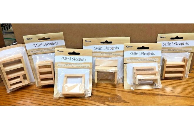 LOT OF 6 NEW DARICE MINI ACCENTS Wood  SHELF & MORE for Dollhouse or crafts