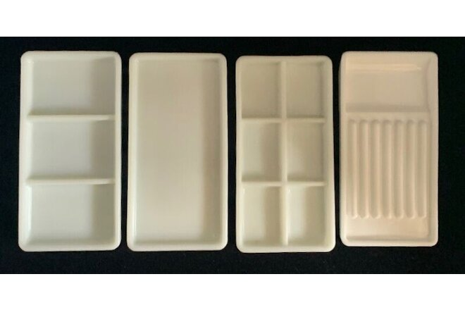 Lot 4 Vintage Dental Milk Glass Dentist Tool Trays USA Wisconsin #20 17 19 DT3