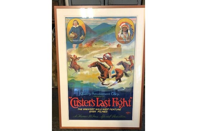 Antique Hollywood Movie Poster Vintage Western Custer & Sitting Bull