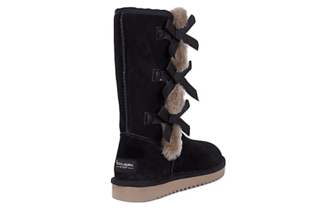KOOLABURRA BY UGG VICTORIA TALL BLACK SOFT SUEDE FUR WOMENS BOOTS NEW