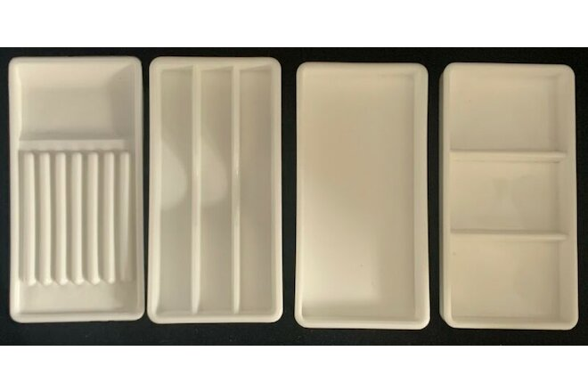 Lot 4 Vintage Dental Milk Glass Dentist Tool Trays USA VALTRONIC DT4