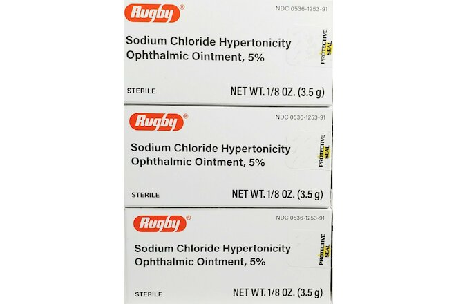 Rugby Sodium Chloride Ophthalmic Ointment 5% (Compare to Muro 128) -3 Pack