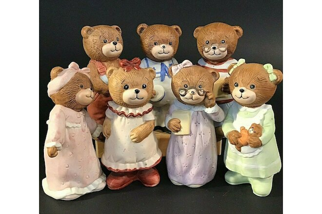"BEAR PORCELAIN BISQUE FIGURINES SET OF 7 VINTAGE 4"" BEDTIME BEARS SAILOR"