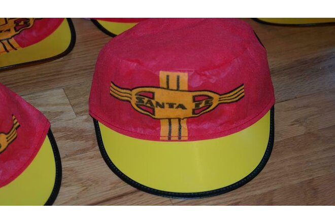 10ea Vintage Santa Fe Railroad paper/fabric souvenir hats -great - new old stock