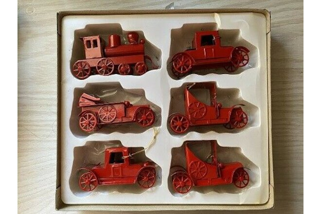 Vintage Red Metal Automobile Christmas Ornaments,
