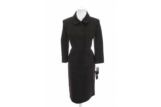 Le Suit Sz 10 Textured Wolfstooth Houndstooth Skirt Jacket Suit Set Brown Black