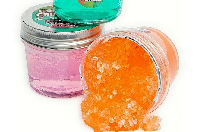 KIDS SLIME JARS - SET OF 2 CRISPY CRUNCH SLIME - 2 DIFFERENT COLORS - BRAND NEW!
