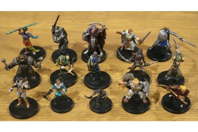 Player Character Miniature Lot 15 D&D Pathfinder Party PC Male Men Female Women