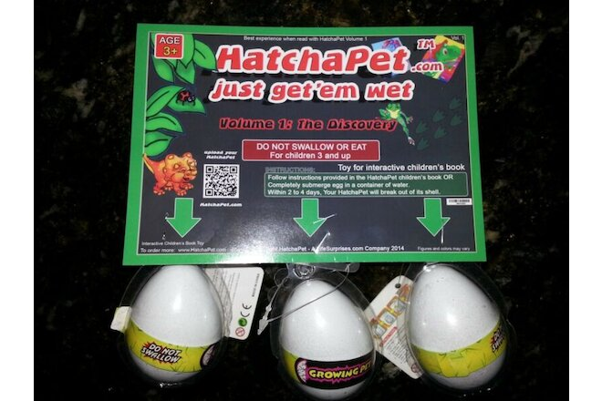 HatchaPet Eggs Growing Pet Dinosaur Eggs x3 - Perfect Gift for Easter!!