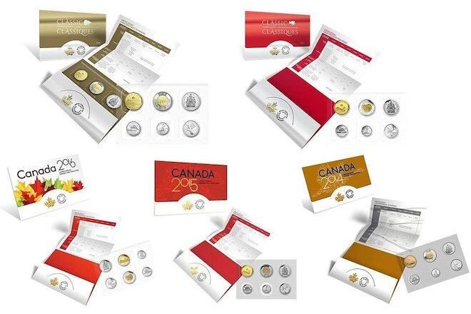 2014, 2015, 2016, 2017 & 2018 Classic Canadian Uncirculated Coin Sets