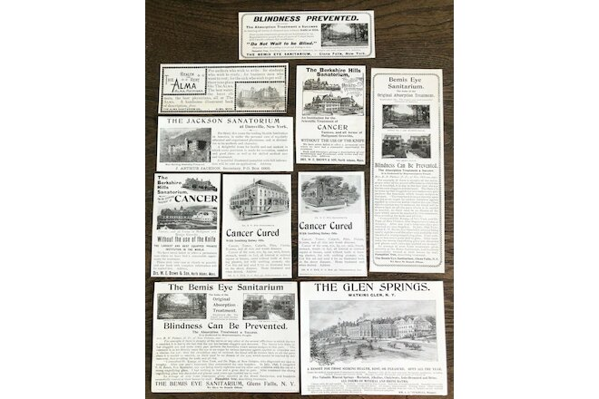 c1890s SANITARIUM BUILDINGS Vtg Print Ads~Bemis Eye,Glen Springs,Alma,Berkshire+