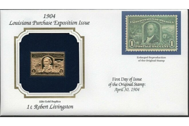 1904 Louisiana Purchase Ex Issue U.S Golden Replicas of Classic Stamps. Set of 5