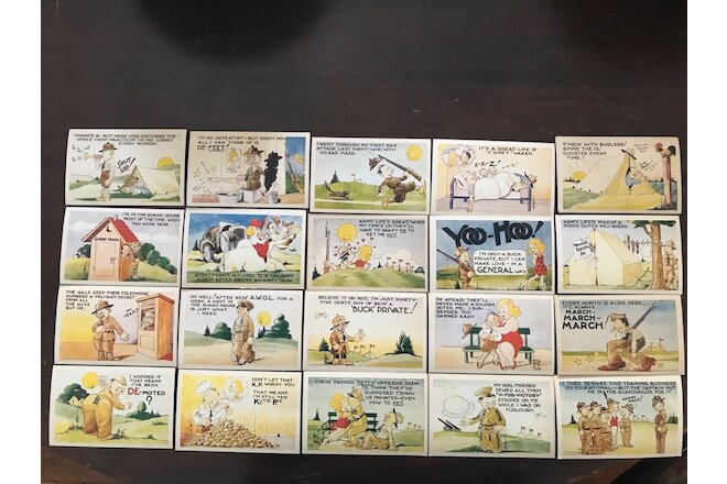 Set of 20 Artist Signed WWII COMICAL POSTCARDS Colorcraft UNPOSTED