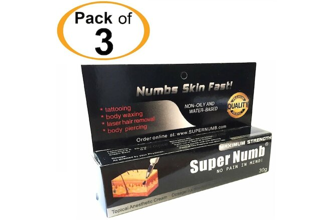3 x 30g SuperNumb numbing cream numb skin piercings waxing laser tattooing