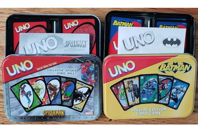 LOT of 2 UNO Games -- BATMAN / SPIDERMAN  VG Condition  Quick & Free Shipping!