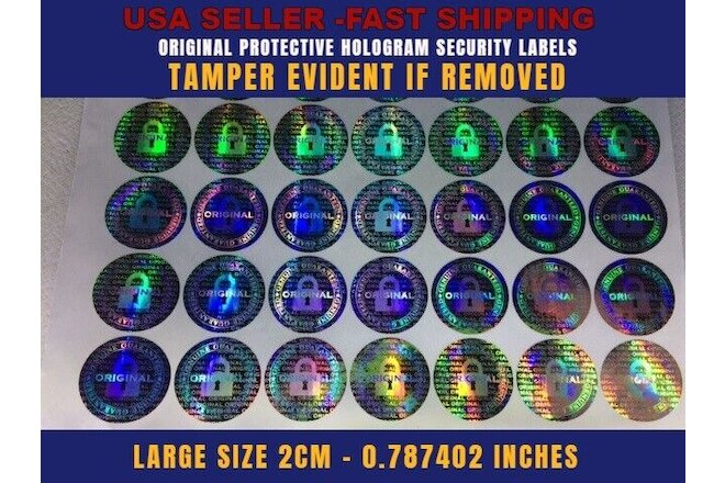 150 ROUND HOLOGRAM AUTHENTIC VOID SECURITY LABELS STICKERS SEALS LARGE SIZE