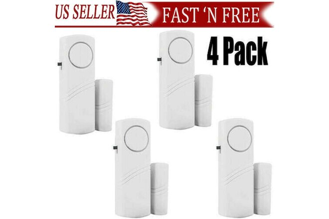 4Packs  Wireless Security Burglar Alarm Home Window Door System Magnetic Sensor